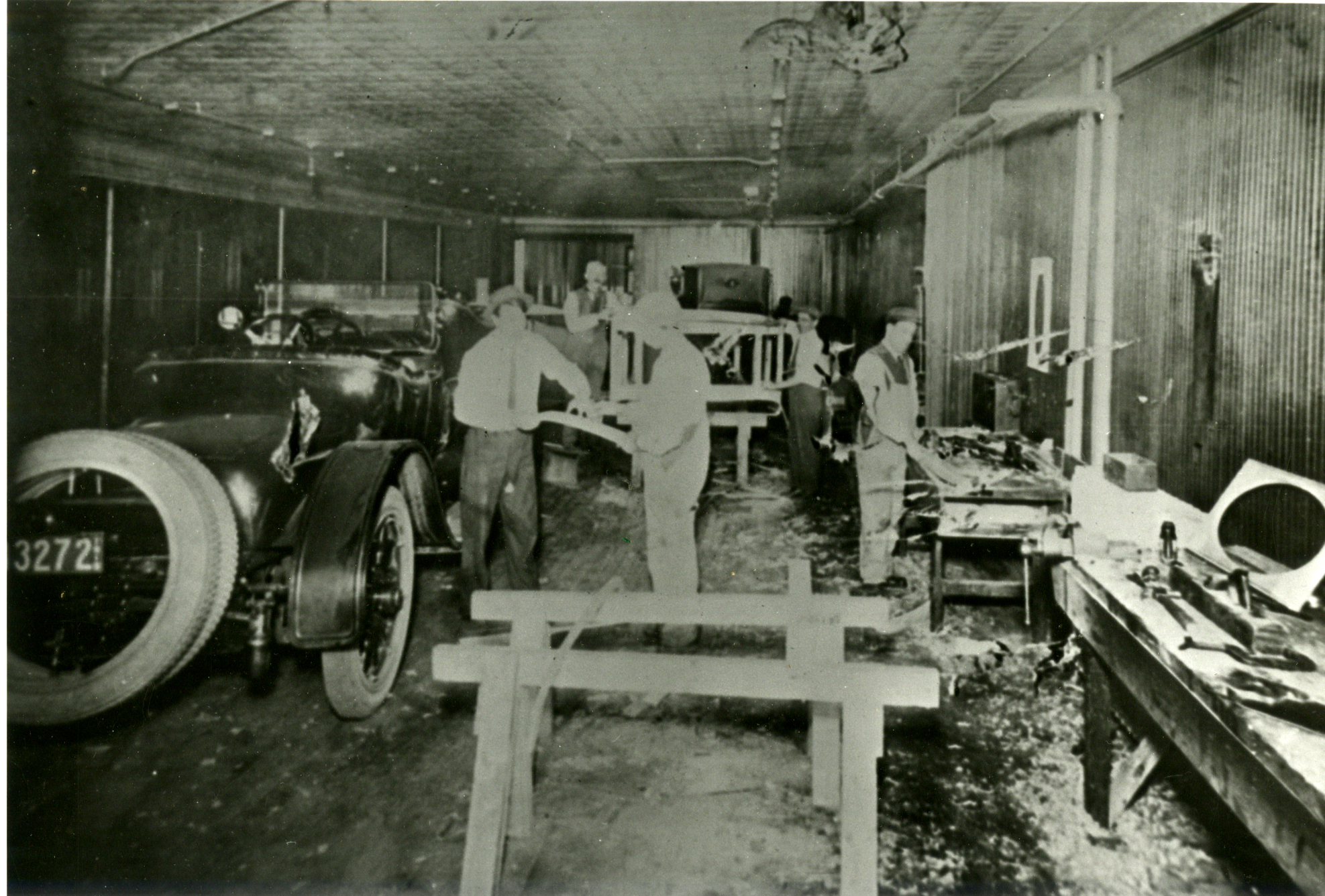 Historical Image Of Men Manufacturing A Rolls-Royce Automobile