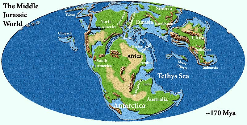 World map of the middle Jurassic period