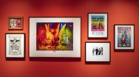 Framed concert posters in Horn Man exhibit