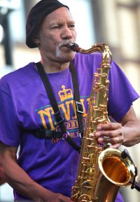 Saxophonist Charles Neville performing with Charmaine Neville Band