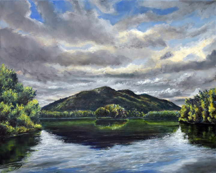 Painting of island reflected in water