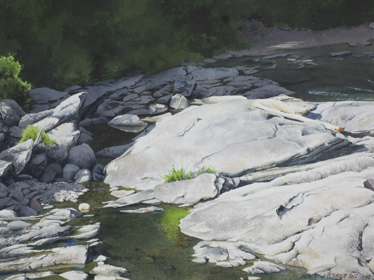 Painting of a mountain stream