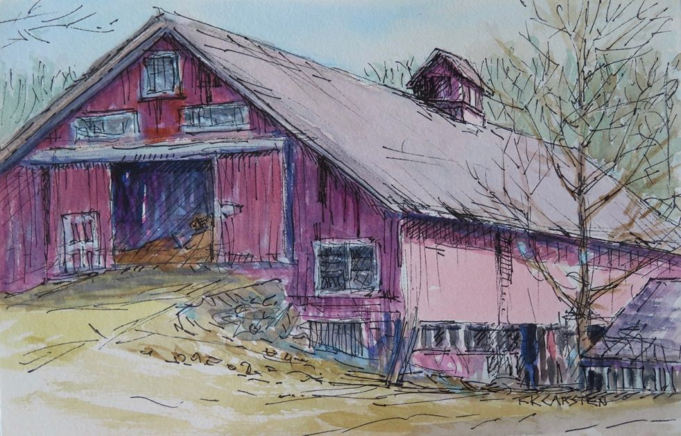 Sketch of a red barn