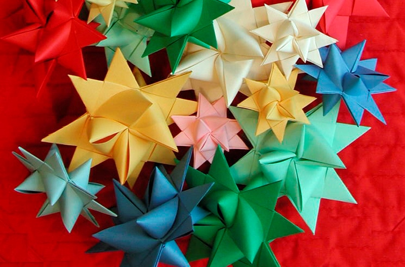 Colorful folded paper stars
