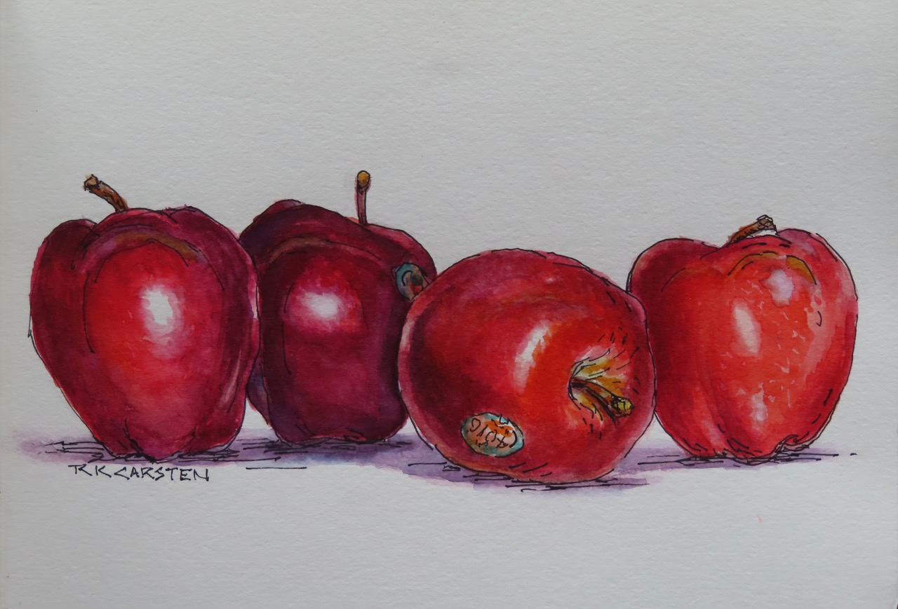 Sketch of four red apples