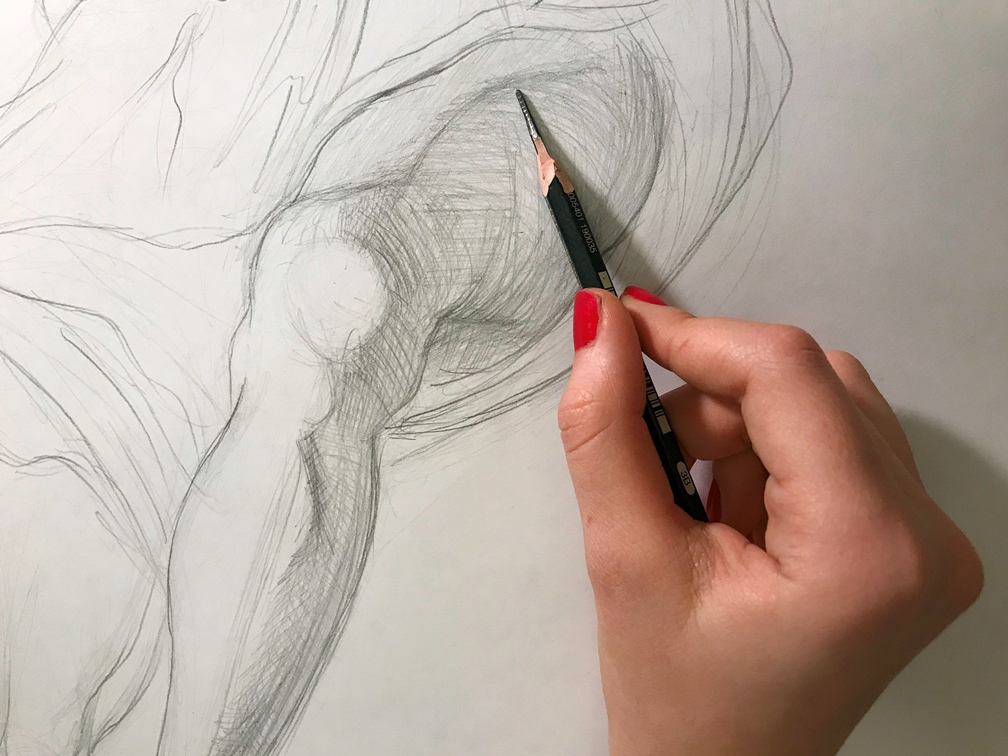 Woman's hand drawing