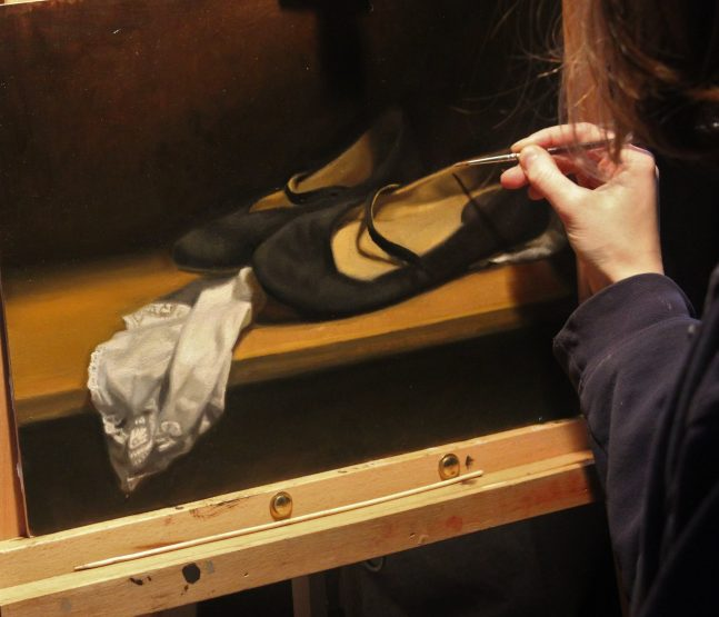 Painting of ballet slippers in progress