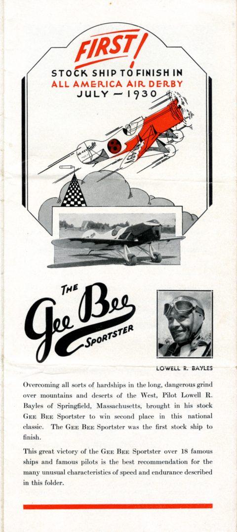Gee Bee Sportster advertisement