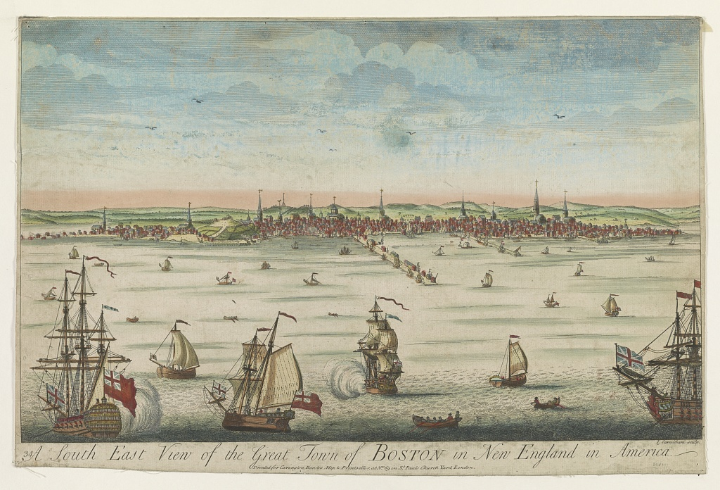 A south east view of the great town of Boston in New England in America, between 1730-1760